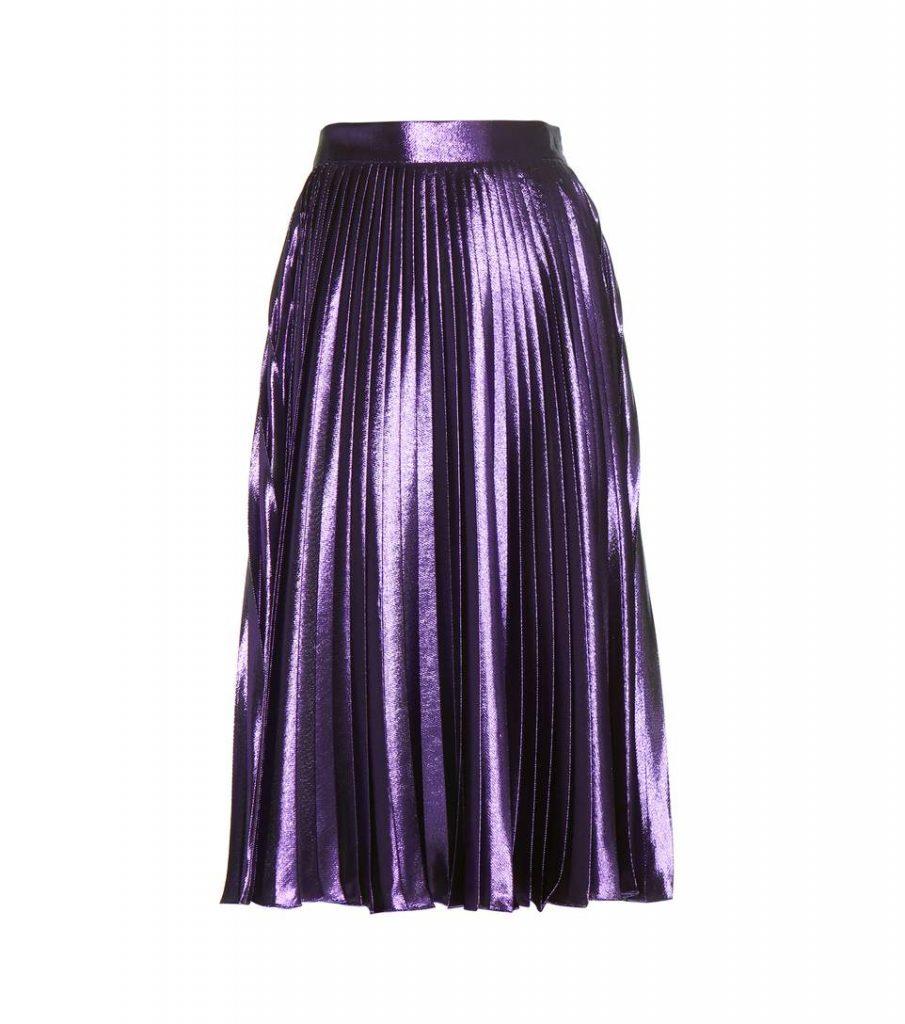 Gucci Metallic Silk-blend Pleated Midi Skirt