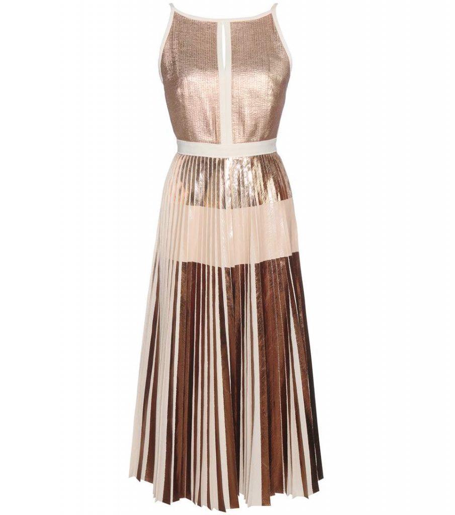 Proenza Schouler Pleated Metallic Dress