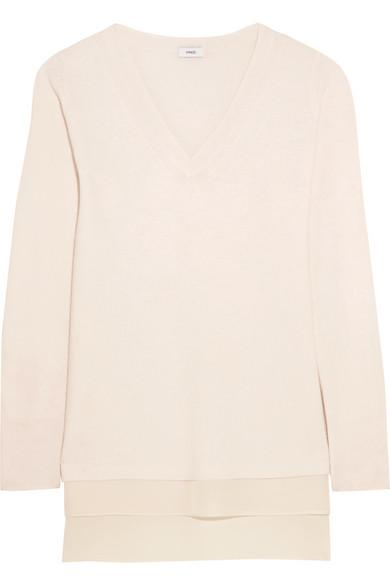 Vince Silk-trimmed Wool and Cashmere-blend Sweater