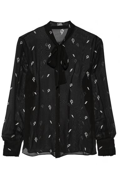Karl Lagerfeld Pussy-bow Printed Chiffon Blouse