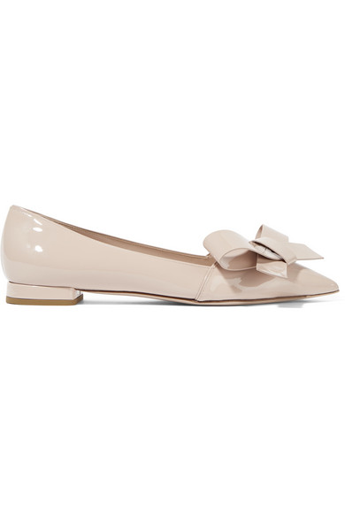 Miu Miu Bow-embellished Patent-leather Point-toe Flats