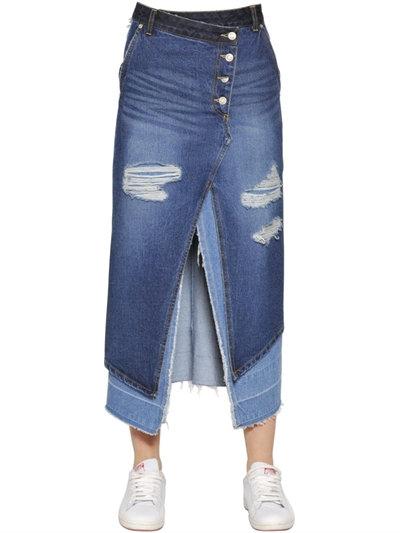 Steve J & Joni P Layered Cotton Denim Midi Skirt