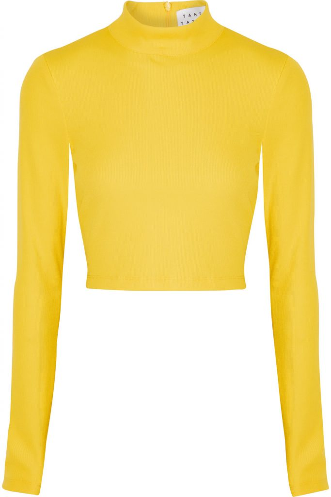 Tanya Taylor Ren Cropped Ribbed-knit Turtleneck Top