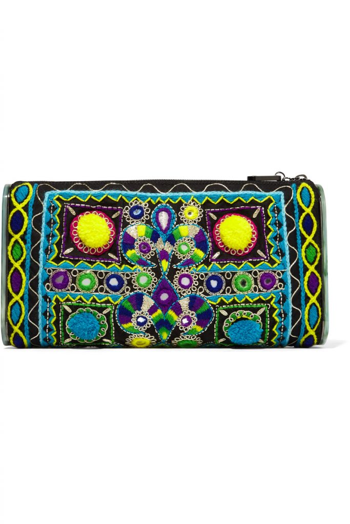 Edie Parker Jumbo Lara Embroidered Cotton and Acrylic Clutch