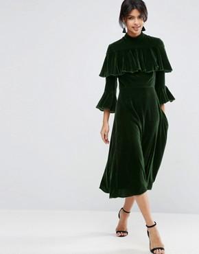asos-trumpet-sleeve-velvet-midi-dress