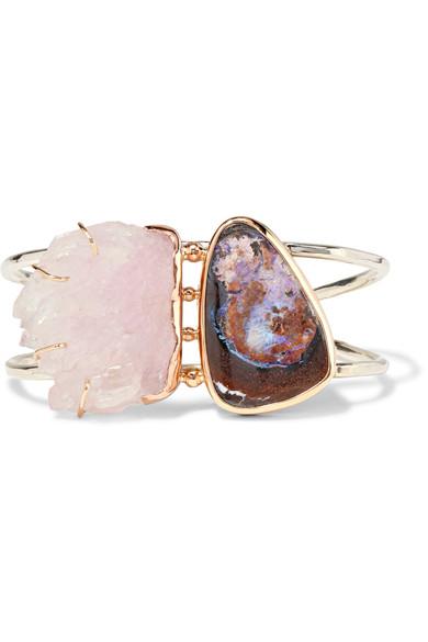 melissa-joy-manning-14-karat-gold-sterling-silver-quartz-and-opal-cuff