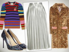 1 Piece, 3 Parties: The Metallic Pleated Skirt
