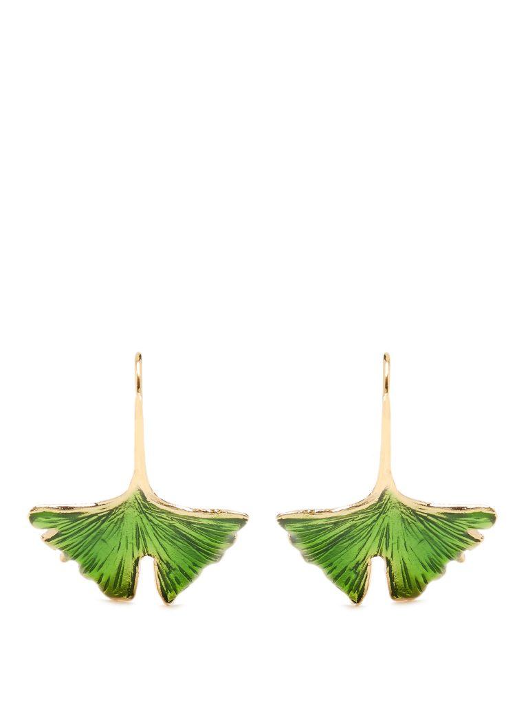 Aurélie Bidermann Gingko Lacquered Gold-plated Earrings