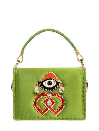 DSquared2 Swarovski and Eye Charm Satin Shoulder Bag