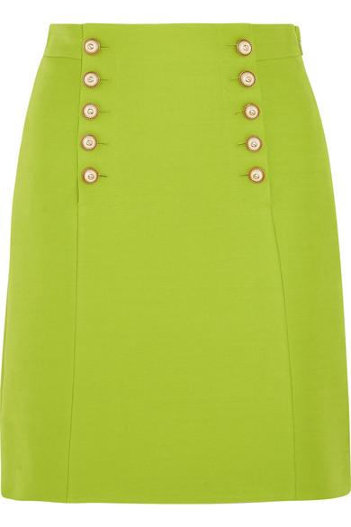 Gucci Faux Pearl-embellished Wool-crepe Mini Skirt