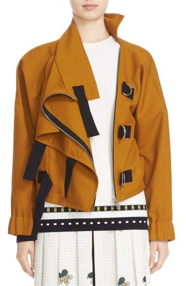 Victoria Beckham Twill Shine Drape Jacket