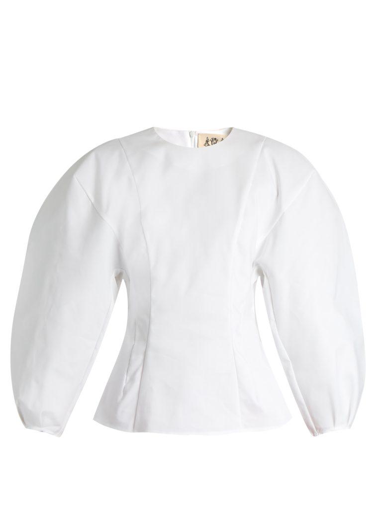 A.W.A.K.E. Jelly Princess Balloon-sleeved Cotton-blend Top