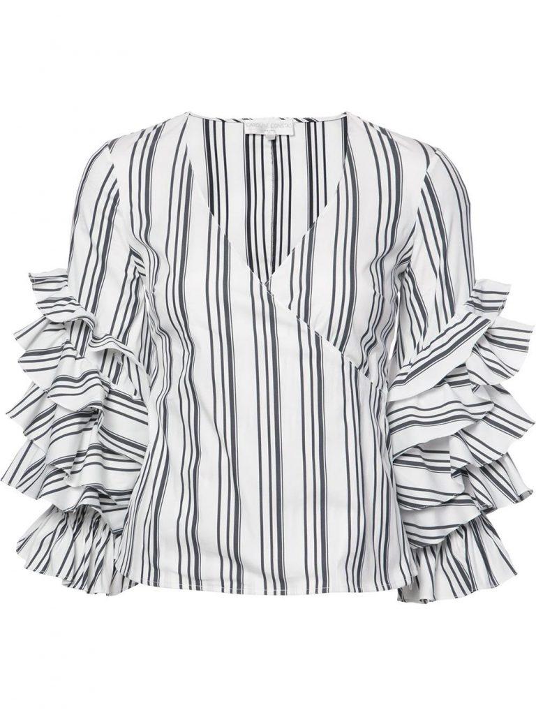 Caroline Constas Striped Ruffled Sleeves Blouse