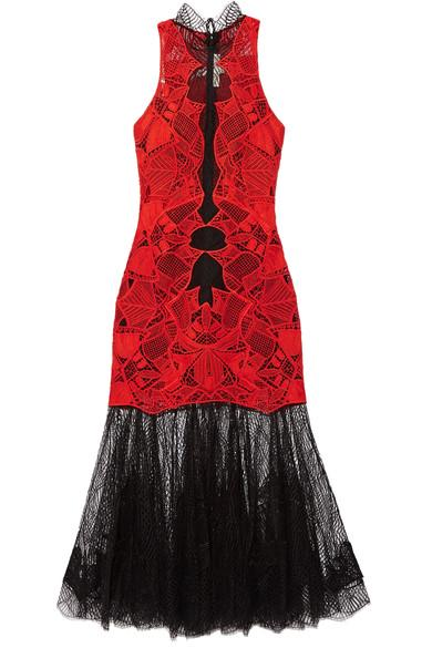 Jonathan Simkahi Two-tone Guipure Lace Dress