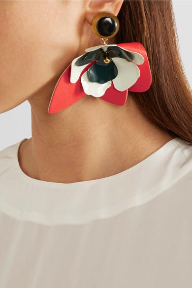 Marni Leather, Steel and Horn Clip Earrings