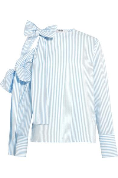 MSGM Bow-embellished Cold-shoulder Striped Seersucker Top