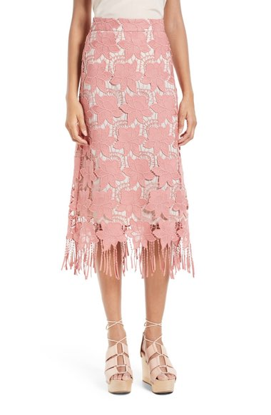 Alice + Olivia Strand Lace Pencil Skirt