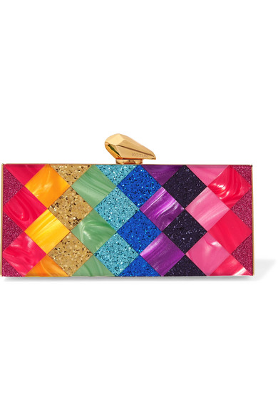 Kotur Levin Glittered Perspex Box Clutch