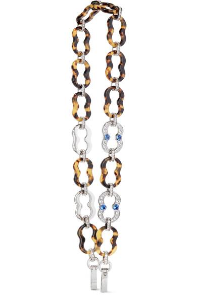 Prada Silver-tone, Swarovski Crystal and Resin Bag Strap