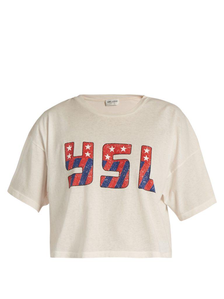 Saint Laurent YSL-print Cropped Cotton-jersey T-shirt
