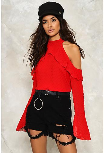 Nasty Gal Dobby Spot Cold Shoulder Ruffle Blouse