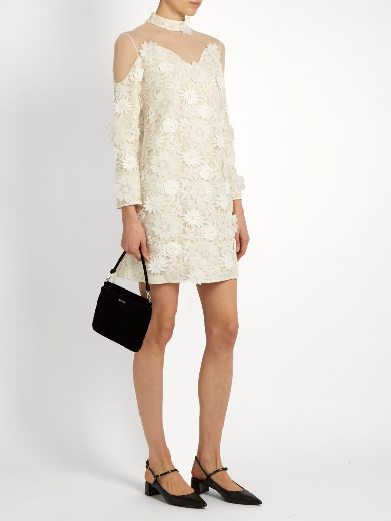 HUISHAN ZHANG _Petal guipure-lace dress