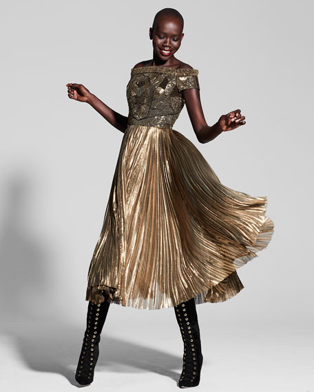 j. mendel gold dress