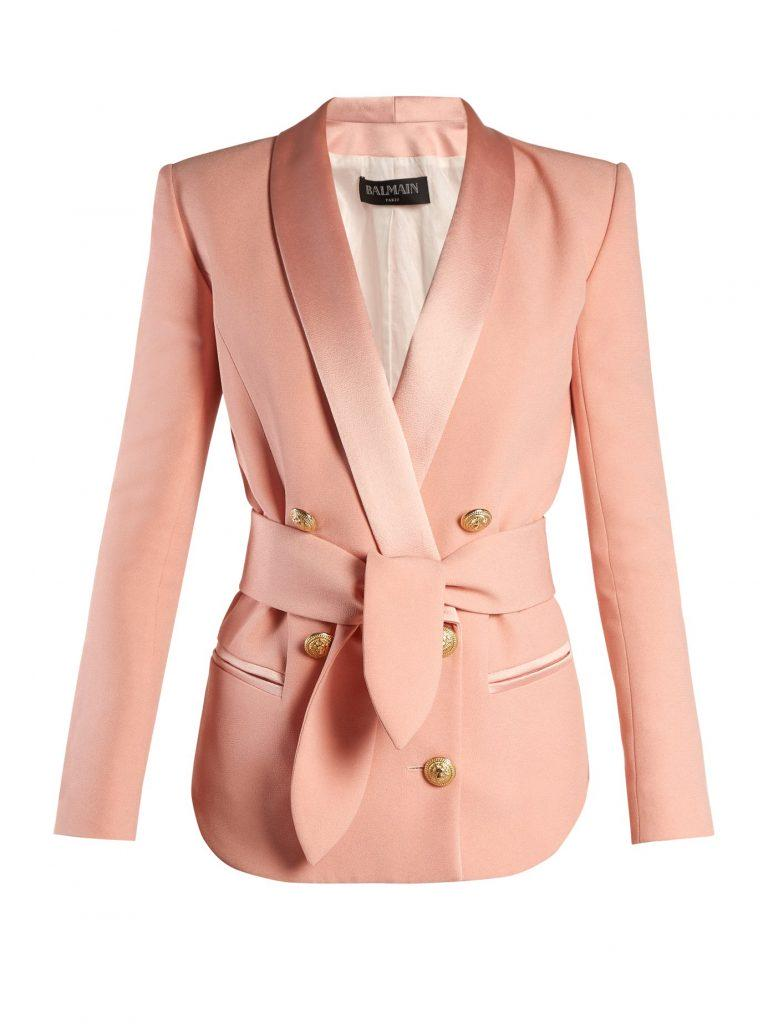 ba96f5b0 Balmain Double-breasted Belted Crepe Blazer $2,550